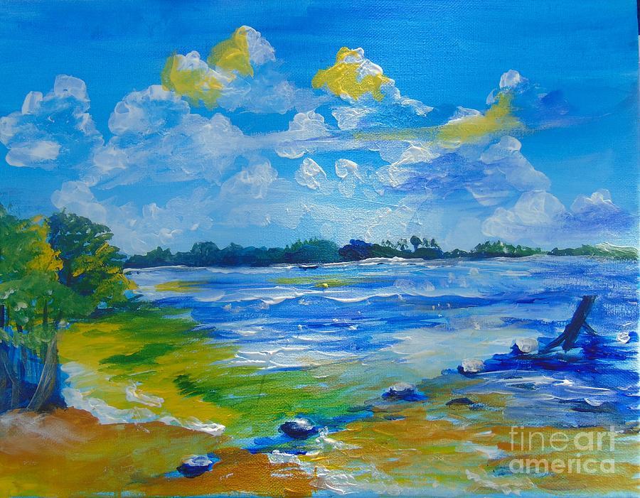 Acrylic Painting - Green Key Beach by Saundra Johnson