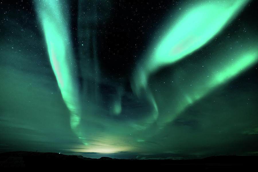 Iceland Photograph - Green Light Streaks by Framing Places