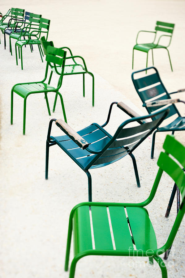 Tilt-shift Photograph - Green Metallic Chairs In The City Park by Anatoli Styf