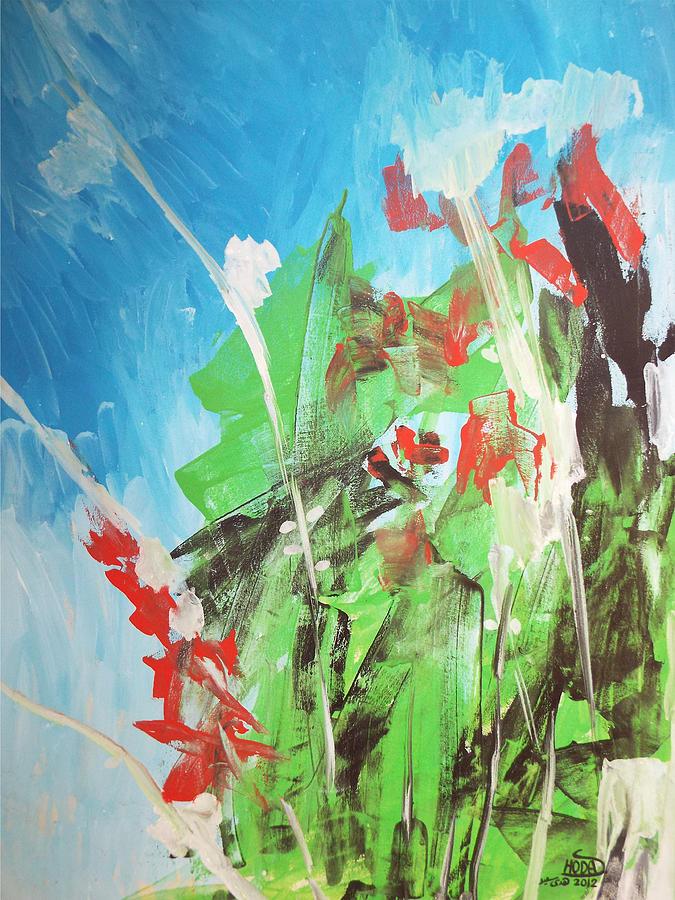 Green Painting - Green plants by Hoda Said Ibrahim