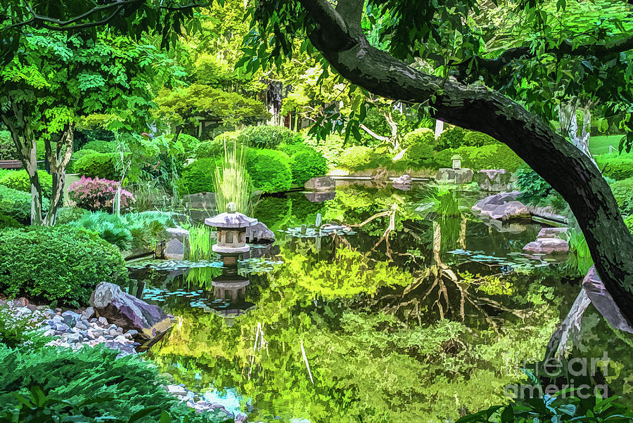 Green Reflections in the Pond of a Japanese Ornamental Garden by Susan Vineyard
