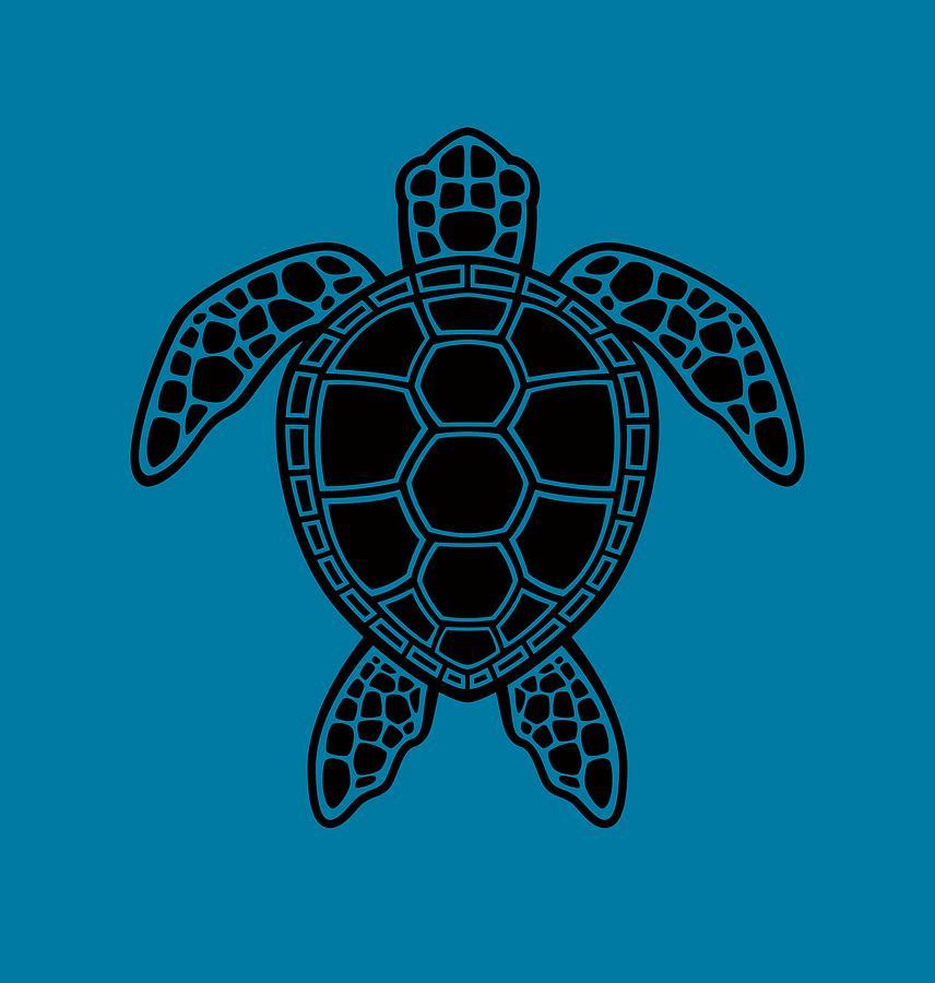 Green Sea Turtle Design - Black Digital Art