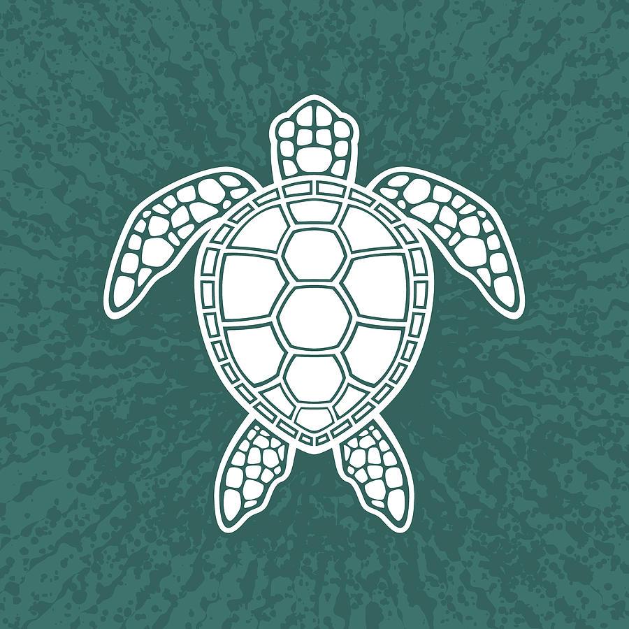 Green Sea Turtle Design - White Digital Art
