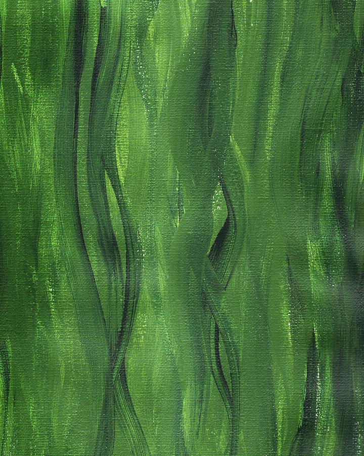 Green Seaweed Abstract Organic Lines II by Irina Sztukowski