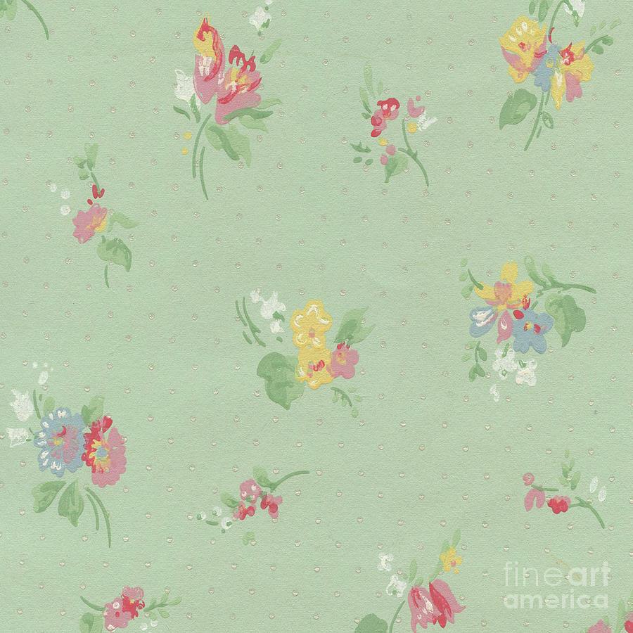 Green Shabby Chic Wallpaper Mixed Media By Heaven Farmhouse