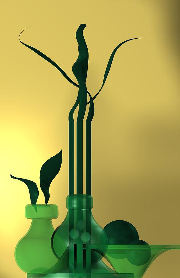 Green still life over golden background by Alberto RuiZ