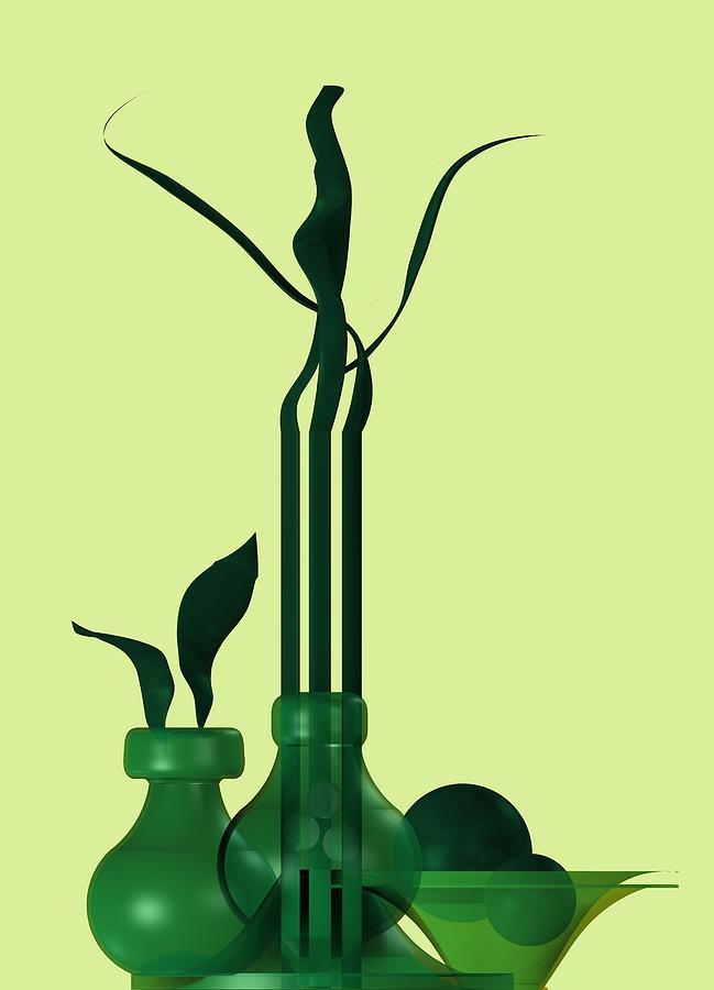 Green Still Life With Cool Elements Digital Art