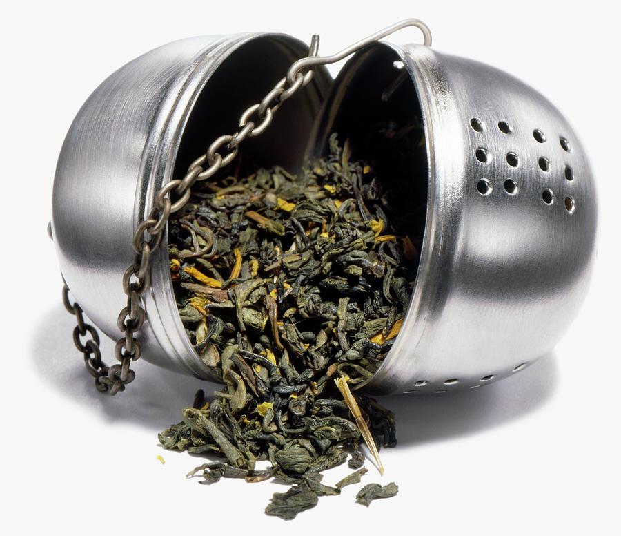 Green Tea In Open Infuser, Studio Shot Photograph by Steve Wisbauer