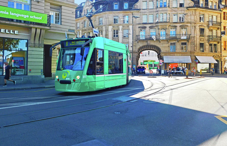 Green Tram Basel Switzerland by Emmy Marie Vickers