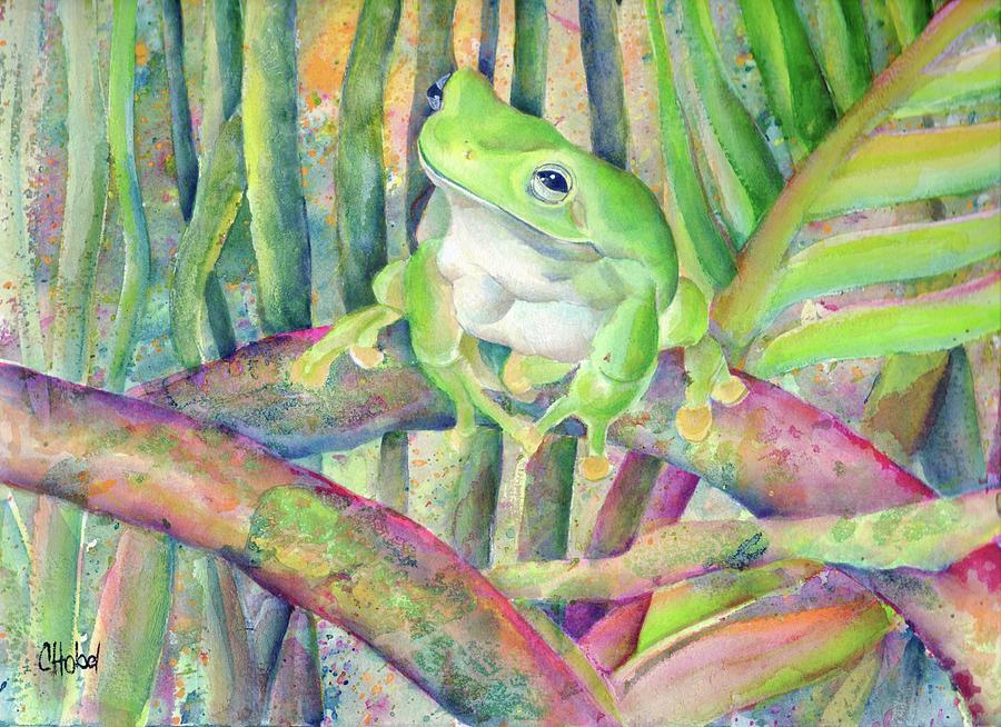 Green tree frog painting by Chris Hobel