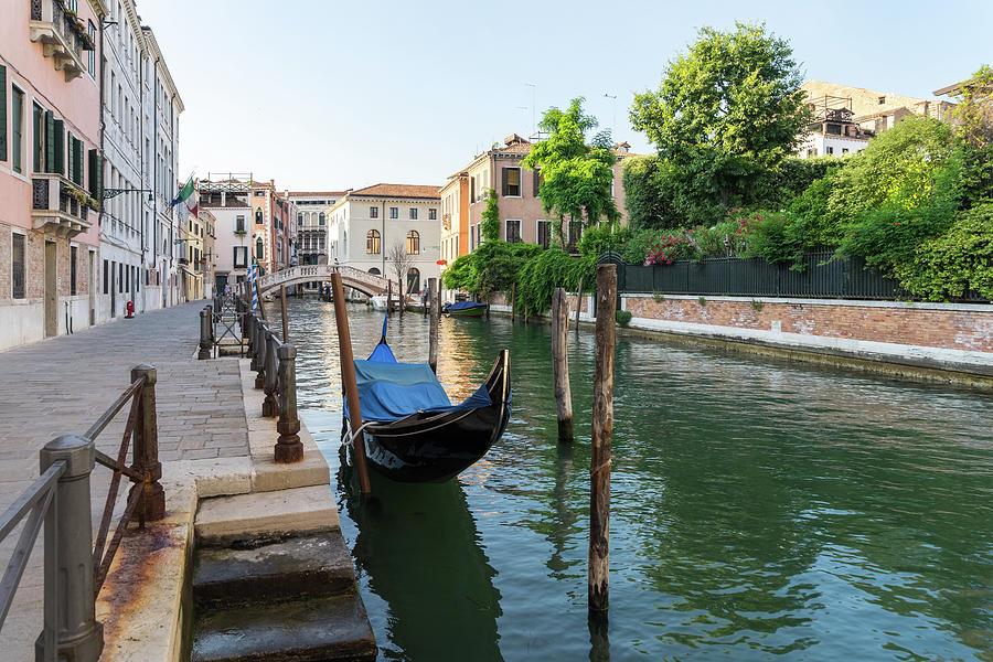 Green Venetian Summer - Rio de San Lorenzo Canal in Sestiere di Castello Venice Italy by Georgia Mizuleva