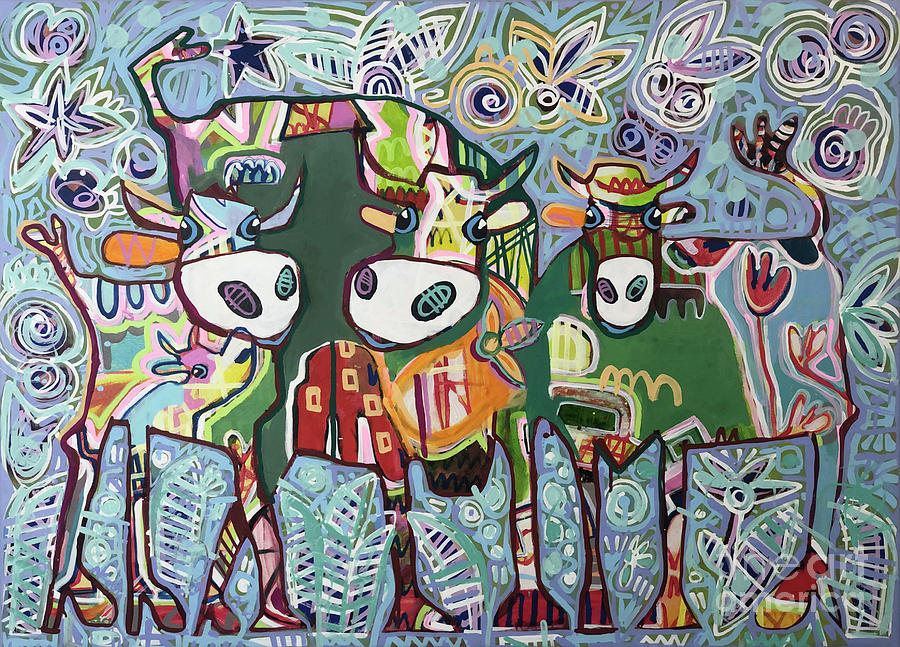 Cow Painting - Greenganggirls by Fredi Gertsch