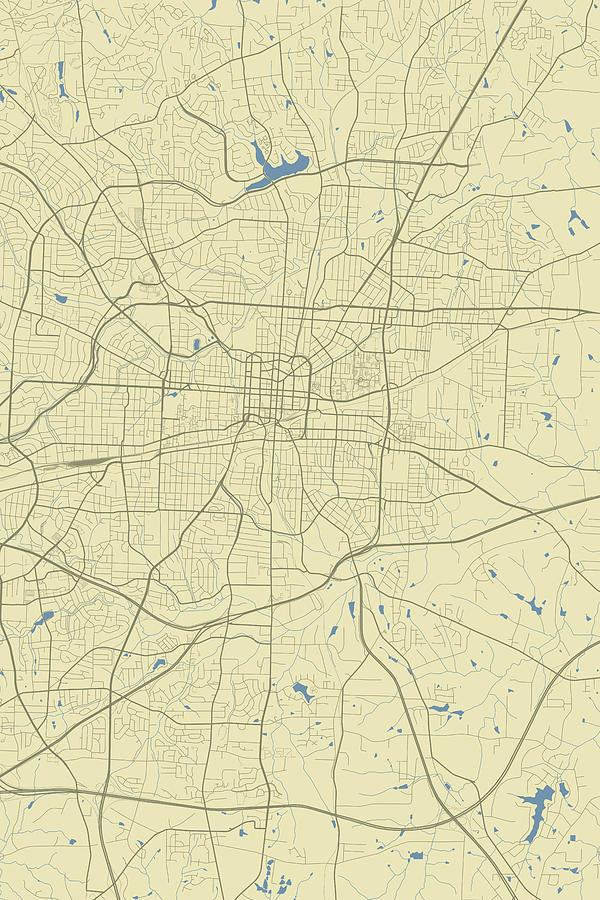 Greensboro North Carolina Usa Classic Map by Jurq Studio