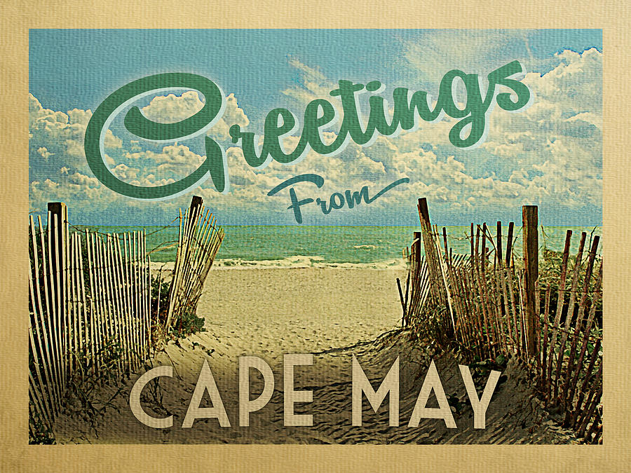 Cape May Digital Art - Greetings From Cape May Beach by Flo Karp