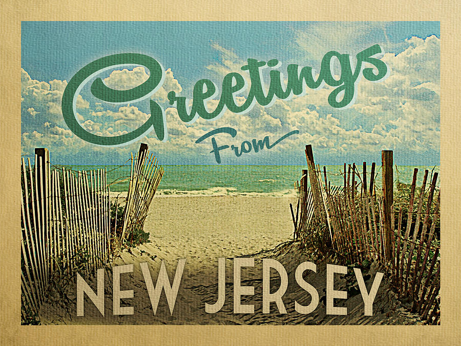 New Jersey Digital Art - Greetings From New Jersey Beach by Flo Karp