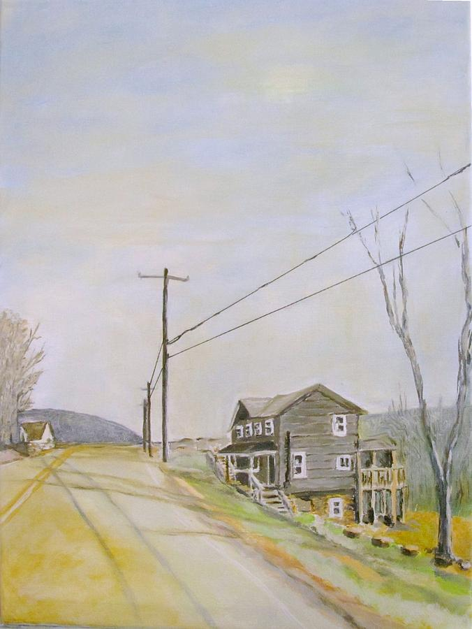 Landscape Painting - Grey House On Benezette Road by Rosita Pisarchick
