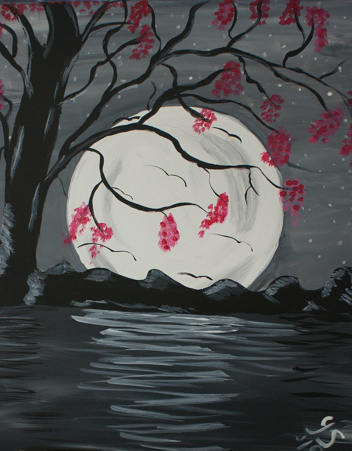 Moon Painting - Grey Moon With Red Flowers by Yvonne Sewell