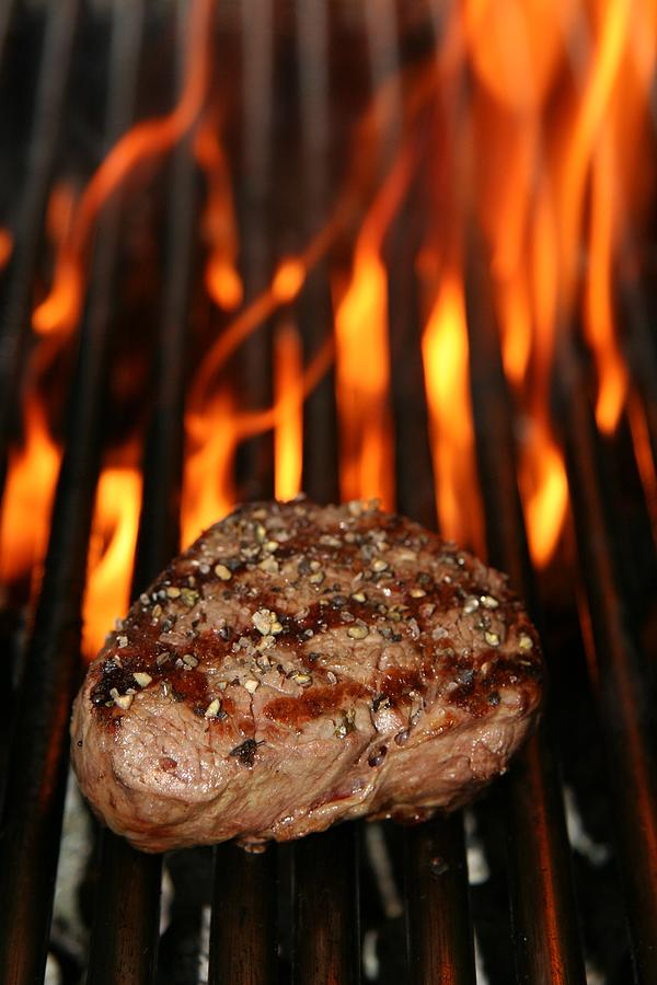 Grilled Beef Steak And Fire Photograph by Martinh70