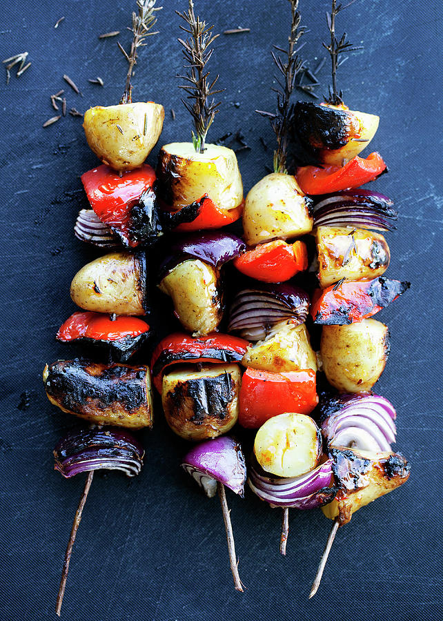 Grilled Vegetable Rosemary Kebabs Photograph by Line Klein