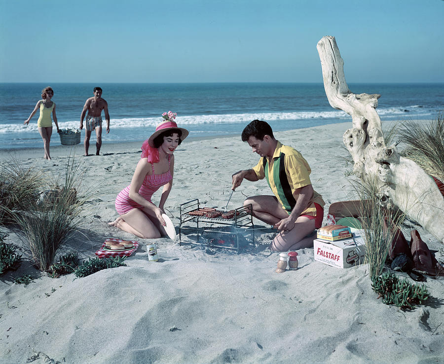 Grilling On The Beach Photograph by Tom Kelley Archive