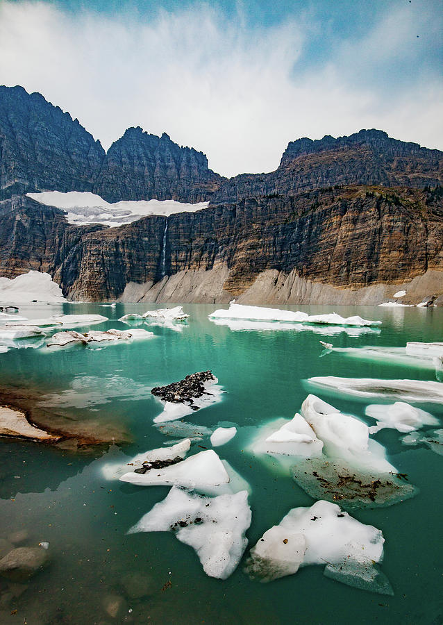 Grinnell Glacial Lake at Glacier National Park by Lon Dittrick