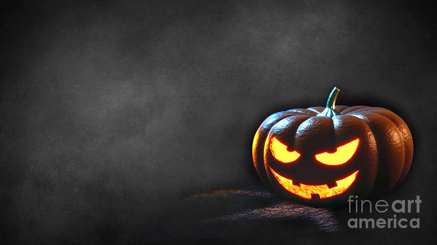 High Resolution Digital Art - Grinning Halloween Jack O Lantern Pumpkin Head Ultra Hd by Hi Res