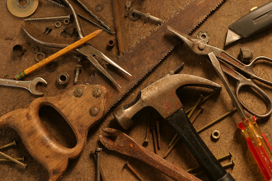 Gritty Hand Tools Scattered Across Photograph by Donald gruener