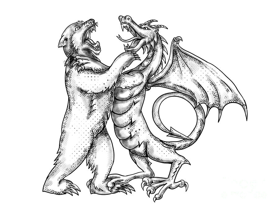 Grizzly Bear Fighting Chinese Dragon Tattoo