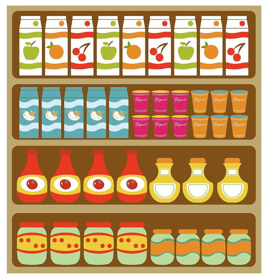 Grocery Store Shelves Digital Art by Olillia