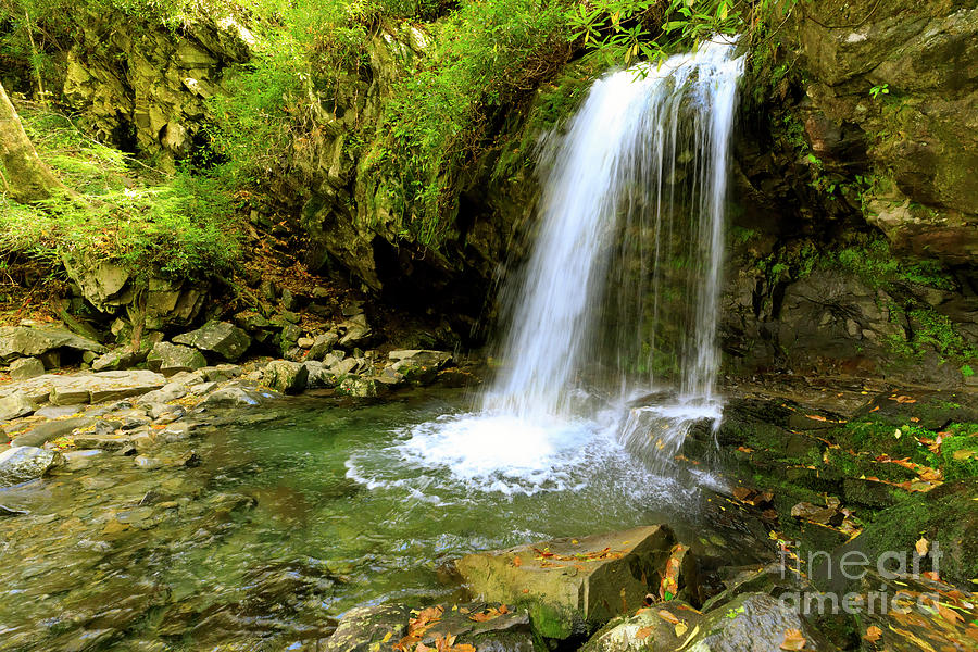 Waterfall Photograph - Grotto Falls On Trillium Gap Trail In Smoky Mountains National Park by Louise Heusinkveld