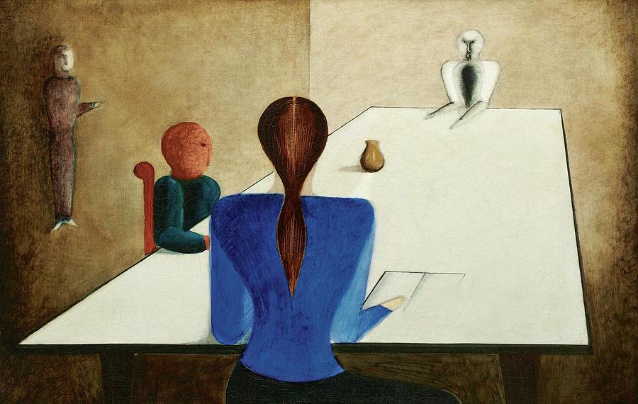 Oskar Schlemmer Painting - Group At Table, 1923 by Oskar Schlemmer