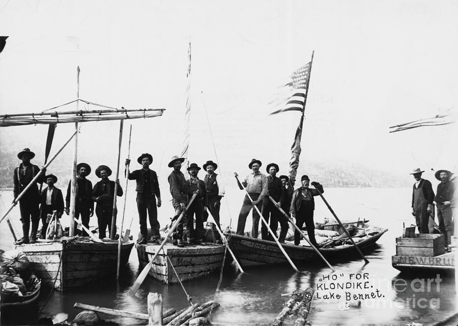 Group Of Men Posed On Boat For Goldrush Photograph by Bettmann