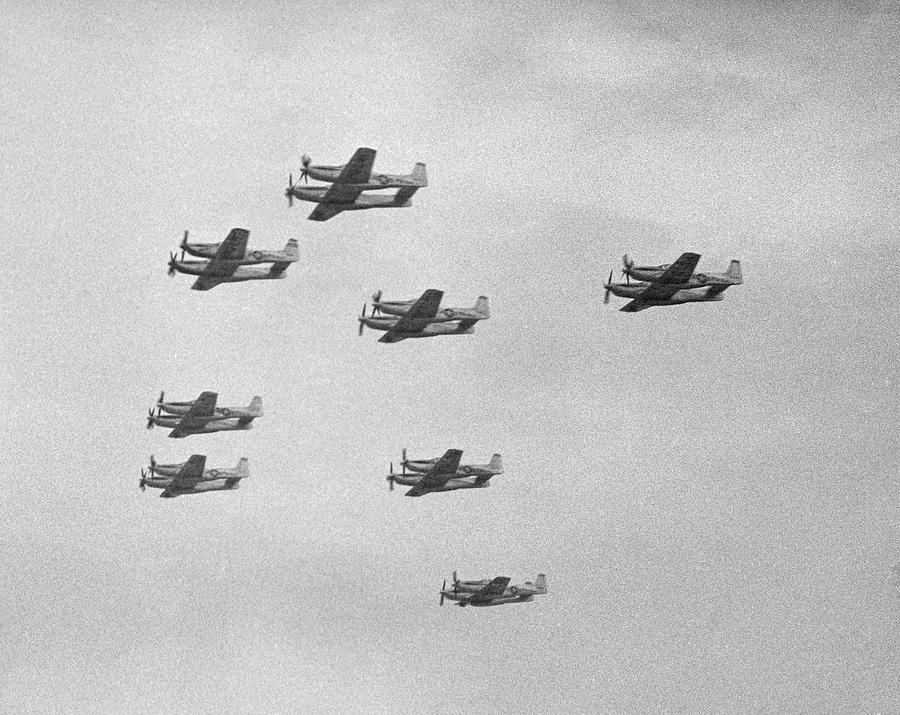 Group Of Military Airplanes In Sky Photograph by George Marks
