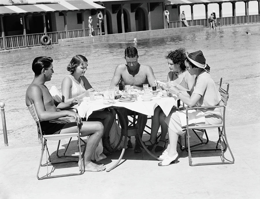 Group Of People Sitting Poolside At Photograph by H. Armstrong Roberts