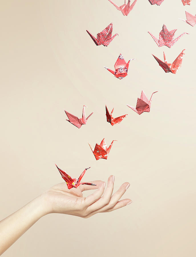Group Of Red Origami Cranes Flying Away Photograph by Paper Boat Creative