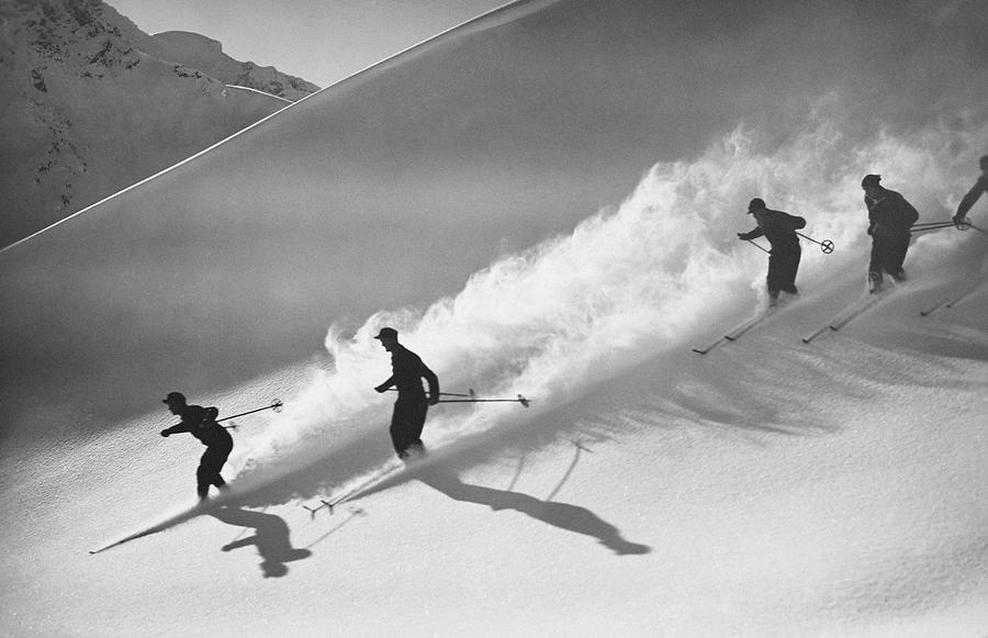 Group Of Skiers Descending Alpine Photograph by H. Armstrong Roberts