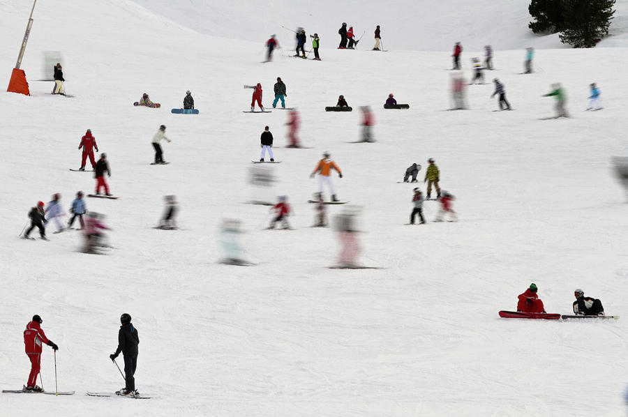 Group Of Skiers On Nursery Slopes Photograph by Chris Lishman