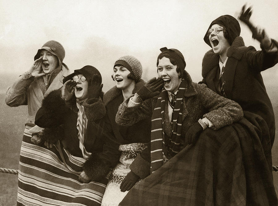 Group Of Women Spectators Cheering Photograph by Fpg