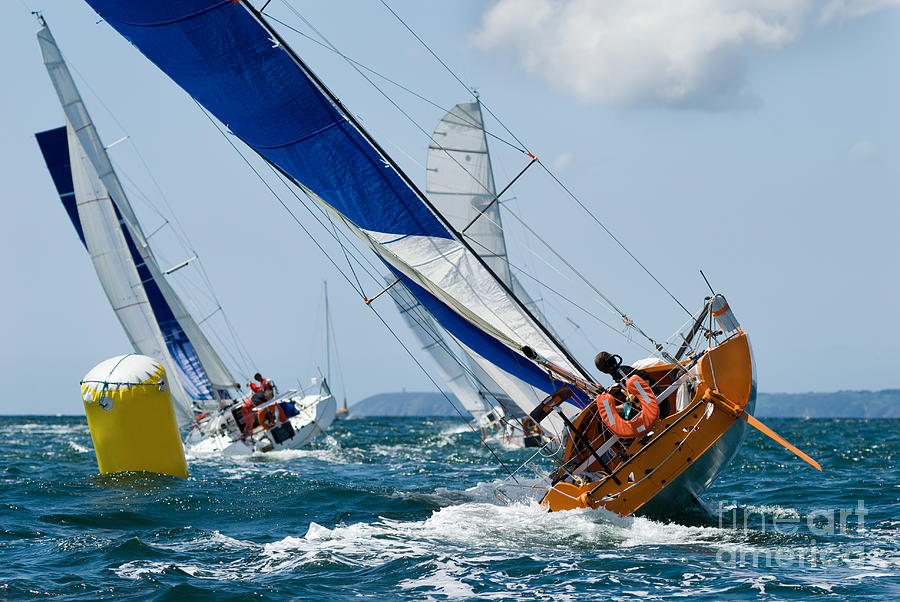 Skipper Photograph - Group Of Yacht At Race Regatta With by Sainthorant Daniel