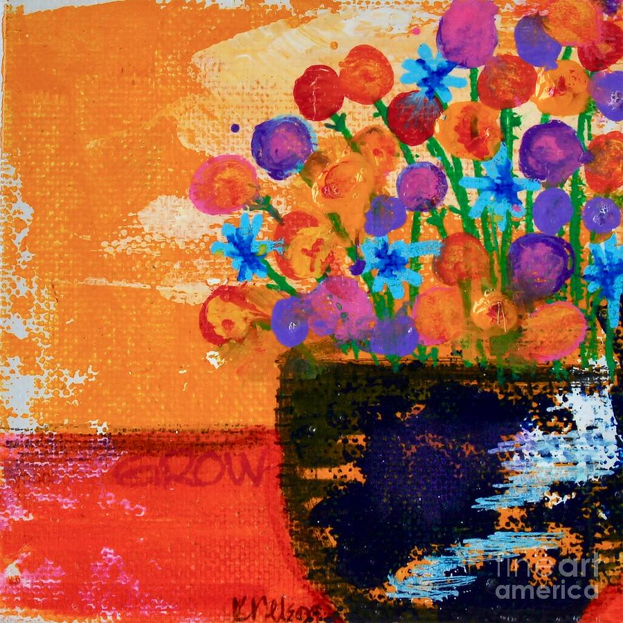 Blue Vase Painting - Grow by Kim Nelson