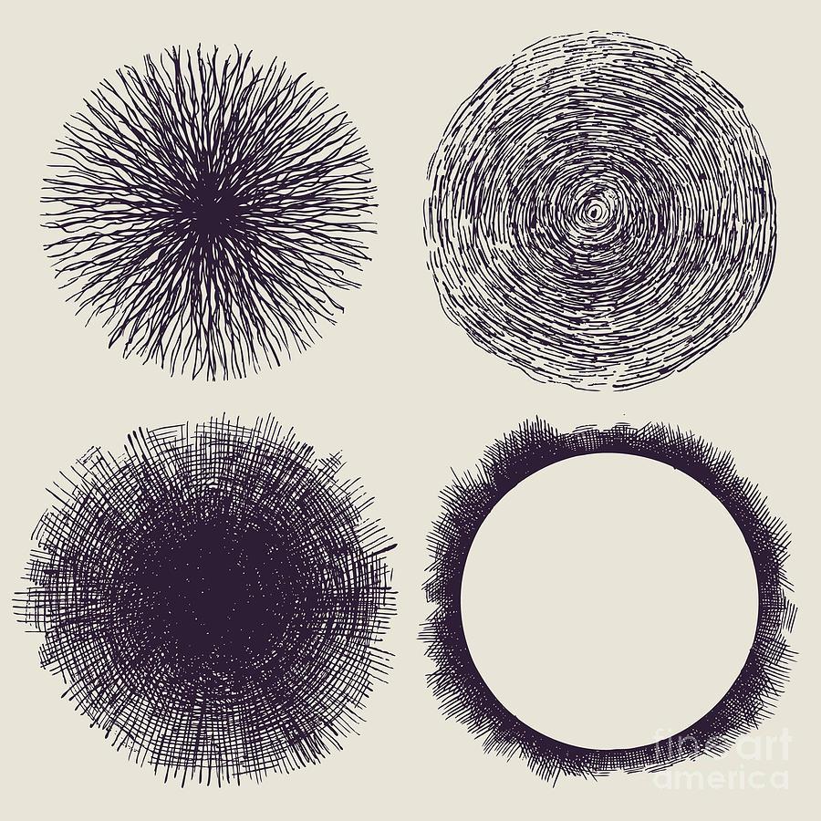 Paint Digital Art - Grunge Halftone Drawing Textures Set by Jumpingsack