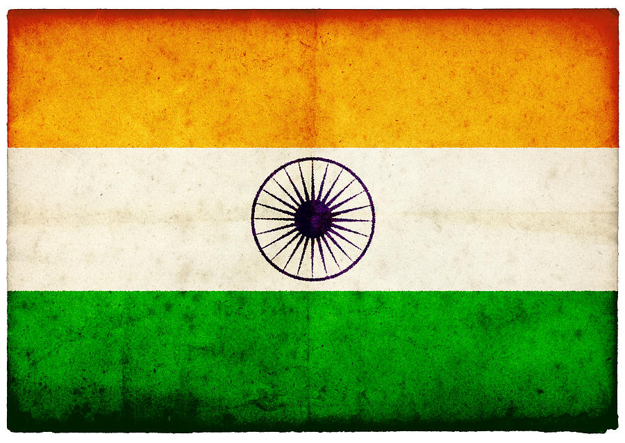 Grunge Indian Flag On Rough Edged Old Photograph by Abzee