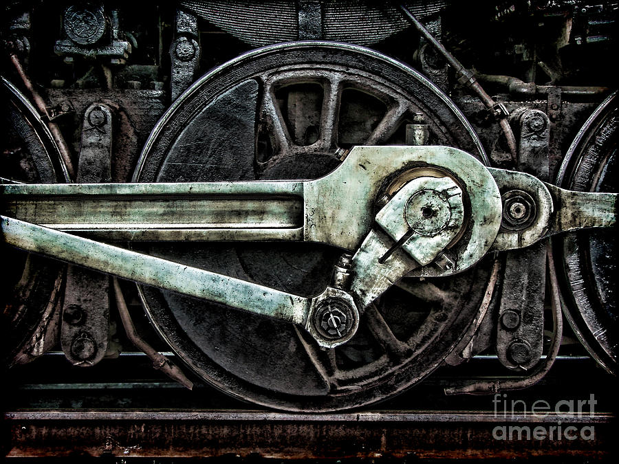 Steel Photograph - Grunge Old Steam Locomotive Wheel by Olivier Le Queinec