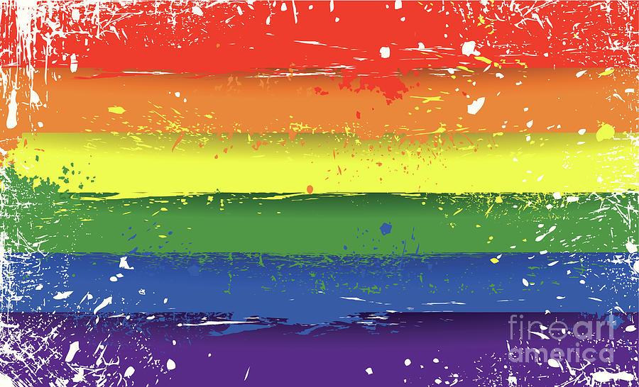 Grungy Lgbt Flag Digital Art by Traffic analyzer