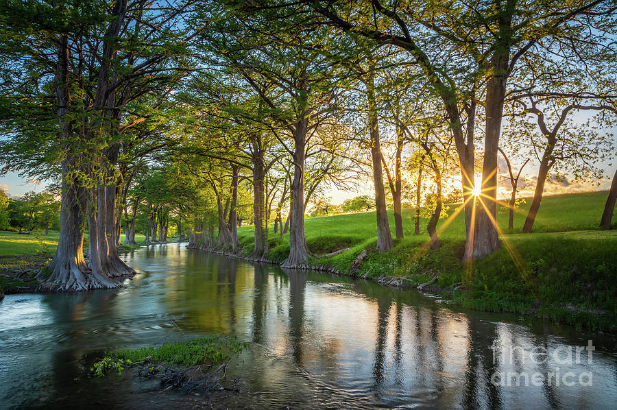 America Photograph - Guadalupe River Sunset by Inge Johnsson