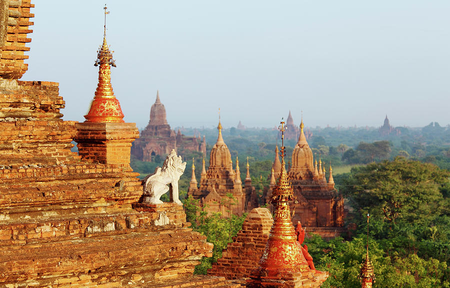 Guard Statue And Bagan Temple Field Photograph by Arturbo