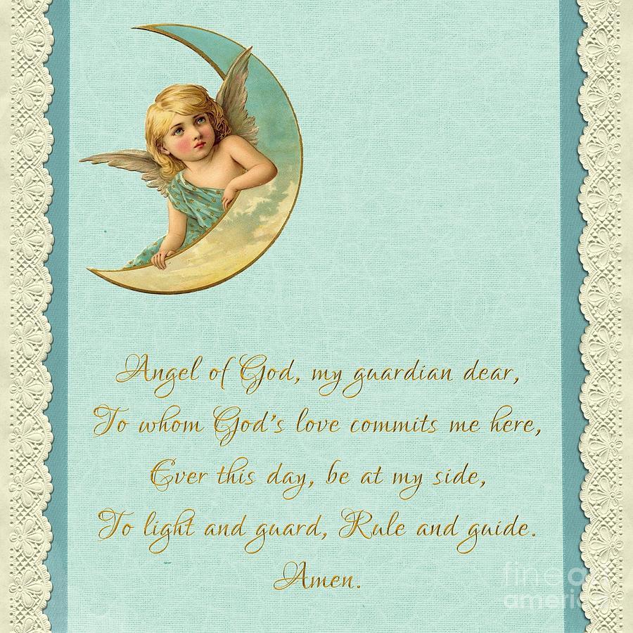 Guardian Angel Prayer in Gold Script by Rose Santuci-Sofranko