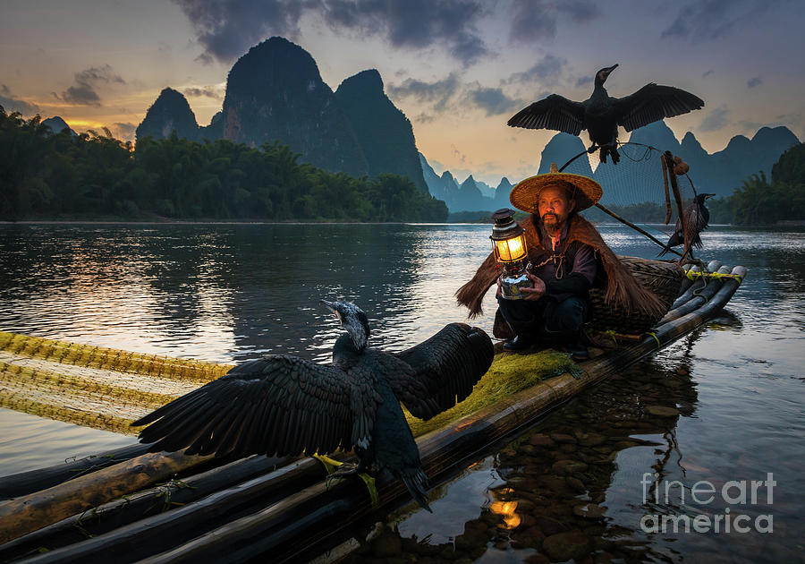 Asia Photograph - Guilin Fisherman by Inge Johnsson