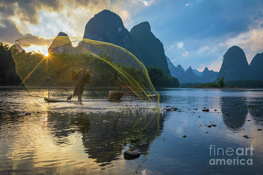 Asia Photograph - Guilin Net by Inge Johnsson