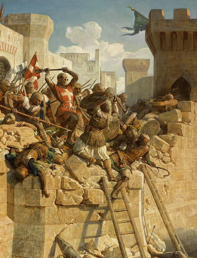 Siege Of Acre Painting - Guillaume De Clermont Defend La Ville Dacre, 1291 by Dominique Louis Fereol Papety